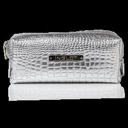 Kosmetiktasche mit Krokodilleder Muster Silber Klein (R24393)