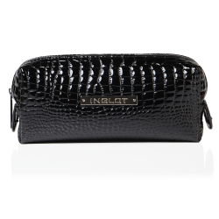Kosmetiktasche mit Krokodilleder Muster Schwarz Klein (R24393)