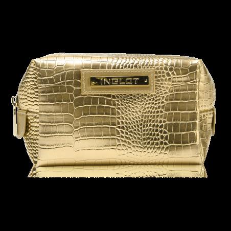 Kosmetiktasche mit Krokodilleder Muster Gold (R24245B) icon